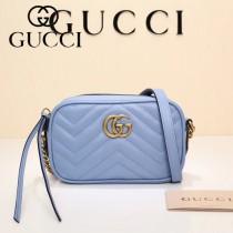 GUCCI 448065-09 秋冬新品女士Marmont淺藍色小牛皮迷你相機包