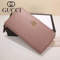 GUCCI 456117-02 專櫃新款裸粉色牛皮雙G標誌長款拉鏈錢包