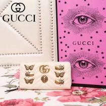 GUCCI 443123-5 秋冬新品昆蟲徽章設計白色人形紋皮長款拉鏈錢包