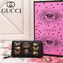 GUCCI 443123-4 秋冬新品昆蟲徽章設計黑色人形紋皮長款拉鏈錢包