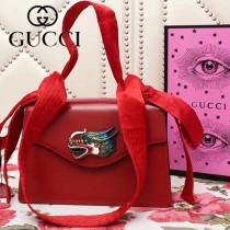 GUCCI 466405 新品龍頭標誌紅色原版小牛皮單肩斜挎包