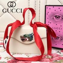 GUCCI 466405-3 新品龍頭標誌白色原版小牛皮單肩斜挎包