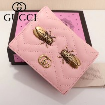 GUCCI 466493 專櫃新品金蟬繡花粉色小牛皮短款兩折零錢包