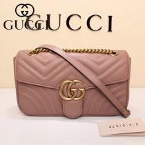 GUCCI 443497-018 專櫃新色Marmont裸粉色波浪紋牛皮單肩斜挎包
