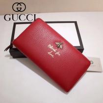 GUCCI 454071-2 人氣熱銷蜜蜂系列紅色原版牛皮長款拉鏈錢包