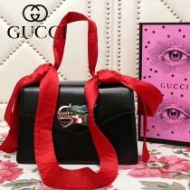 GUCCI 466405-2 新品龍頭標誌黑色原版小牛皮單肩斜挎包