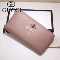 GUCCI 454071-4 人氣熱銷蜜蜂系列裸粉色原版牛皮長款拉鏈錢包