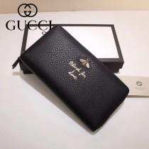 GUCCI 454071-3 人氣熱銷蜜蜂系列黑色原版牛皮長款拉鏈錢包