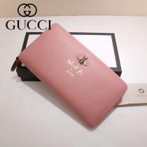 GUCCI 454071 人氣熱銷蜜蜂系列粉色原版牛皮長款拉鏈錢包