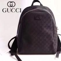 GUCCI 449906-2 新品休閒經典GG帆布配黑色牛皮雙肩包書包