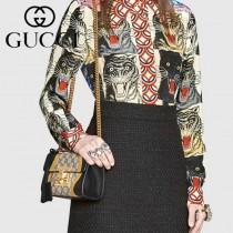 GUCCI 432182-5 奢華高端New Padlock金色波浪紋牛皮單肩斜挎包
