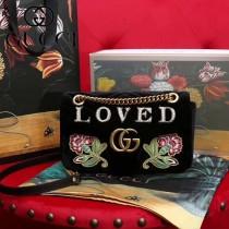 GUCCI 443497-020 秋冬新品Marmont系列黑色刺繡天鵝絨中號斜挎包