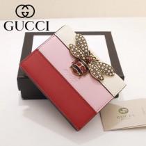 GUCCI-476072-3 Gucci專櫃品質原單皮質蜜蜂系列拼色短款錢夾