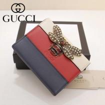GUCCI-476072-2 Gucci專櫃品質原單皮質蜜蜂系列拼色短款錢夾