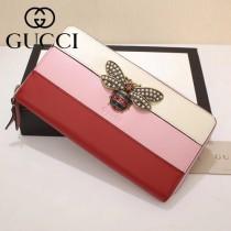 GUCCI-476069-3 Gucci專櫃新款撞色小蜜蜂拉鏈錢包