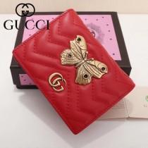 GUCCI 466493-5 輕便實用金蝶系列紅色原版小牛皮兩折短款零錢包