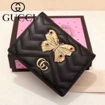 GUCCI 466493-6 輕便實用金蝶系列黑色原版小牛皮兩折短款零錢包