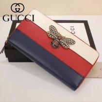 GUCCI-476069-2 Gucci專櫃新款撞色小蜜蜂拉鏈錢包