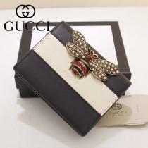 GUCCI-476072 Gucci專櫃品質原單皮質蜜蜂系列拼色短款錢夾