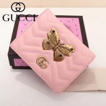 GUCCI 466493-4 輕便實用金蝶系列粉色原版小牛皮兩折短款零錢包