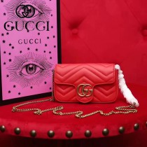 GUCCI-476433-5 Gucci新款GG Nano原版小牛皮女士斜挎包