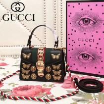 GUCCI 470270-7 秋冬新品昆蟲元素設計黑色原版皮迷你手提單肩包