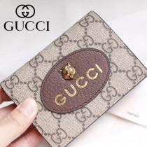 GUCCI-476420 Gucci真皮虎頭標籤壓印金色Gucci啡色PVC配檸檬黃牛皮復古古銅五金新款短夾