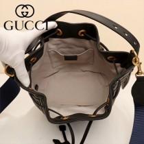 GUCCI-476674-2 Marmont 小巧sylvie織帶可拆卸肩帶絎縫人形花紋牛皮水桶包