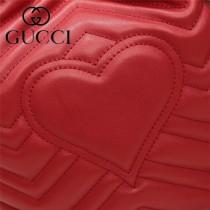 GUCCI-476674-3 Marmont 小巧sylvie織帶可拆卸肩帶絎縫人形花紋牛皮水桶包