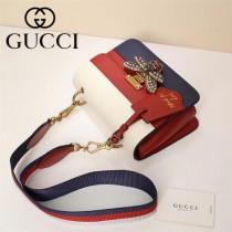 GUCCI-476542-2 瑪格麗特皇后撞色系列紅白藍色寬肩帶復古時髦手提單肩斜挎包