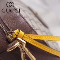 GUCCI-476466 新款真皮虎頭標籤壓印金色啡色PVC配檸檬黃牛皮復古古銅五金亞麻印花內襯挎包