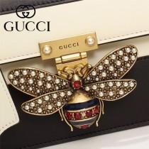GUCCI-476542 瑪格麗特皇后撞色系列紅白藍色寬肩帶復古時髦手提單肩斜挎包