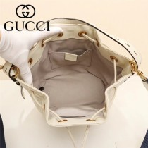 GUCCI-476674-4 Marmont 小巧sylvie織帶可拆卸肩帶絎縫人形花紋牛皮水桶包