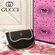 GUCCI-476804-3 秋冬新款個性虎頭搭配珍珠優雅大方珍珠單肩鏈條包
