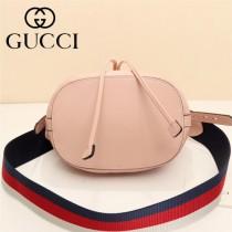 GUCCI-476674 Marmont 小巧sylvie織帶可拆卸肩帶絎縫人形花紋牛皮水桶包