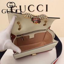 GUCCI-476542-3 瑪格麗特皇后撞色系列紅白藍色寬肩帶復古時髦手提單肩斜挎包