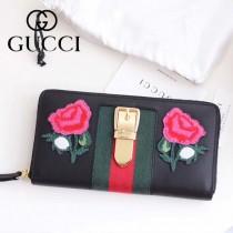GUCCI-11101 Gucci新品刺繡款時尚潮流女士長款錢夾