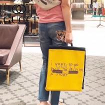 GUCCI-494053-3 Gucci和西班牙藝術家coco  capitan 聯名合作進口牛皮塗鴉手提雙肩背包