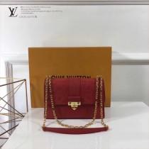 LV M43392-3 時尚休閒SAINT SULPICE原單紅色全皮壓花小號鏈條手袋