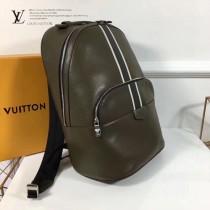 LV M34403 職場男士ANTON橄欖綠十字紋原版皮休閒雙肩包書包