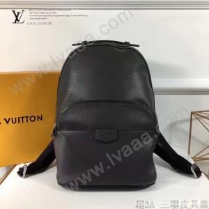 LV M34403-3 職場男士ANTON黑色十字紋原版皮休閒雙肩包書包