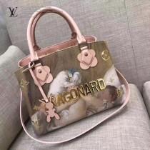 LV M43386 櫥窗限量版大師系列MONTAIGNE原單少女與狗油畫印花中號手袋