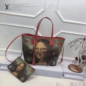 LV M43373 專櫃限量版大師系列neverfull原單蒙娜麗莎油畫印花中號購物袋內置小包