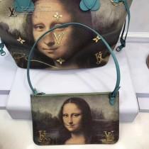LV M43325 專櫃限量版大師系列neverfull原單蒙娜麗莎油畫印花中號購物袋內置小包