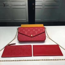 LV M64064-3 時尚POCHETTE FÉLICIE原單紅色全皮壓花鏈條晚宴包