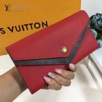 LV M64317 新潮時尚DOUBLE V原單紅色小牛皮信封式長款錢包