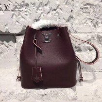 LV M54680 最新品LOCKME BUCKET原單紫紅色小牛皮編織水桶包
