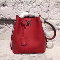 LV M54679 最新品LOCKME BUCKET原單大紅色小牛皮編織水桶包