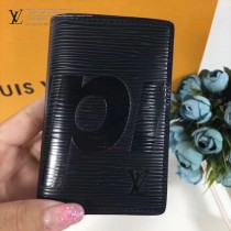 LV M61696-3 輕便小巧supreme限量版原單黑色水波紋兩折卡片夾
