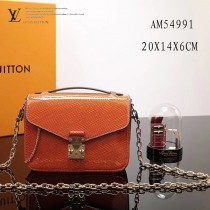 LV M54991 精緻小巧POCHETTE METIS原單橙色水波紋搭配老花鏈條郵差包